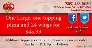One Large One Topping Pizza and 24 Wings (Victor)