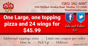 1 Large 1-Topping Pizza and 24 Wings (Mendon)