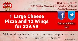 1 Large Cheese Pizza & 12 Wings (Mendon)