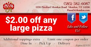 $2.00 Off Any Large Pizza (Mendon)