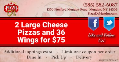 2 Large Cheese Pizzas and 36 Wings (Mendon)