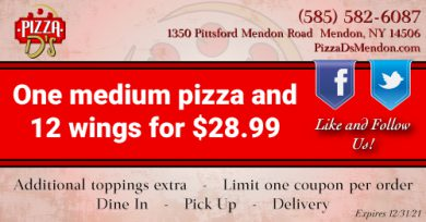 Medium Pizza and 12 Wings (Mendon)