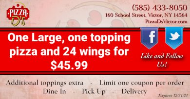 1 Large 1-Topping Pizza and 24 Wings (Victor)