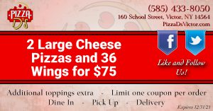 2 Large Cheese Pizzas and 36 Wings (Victor)