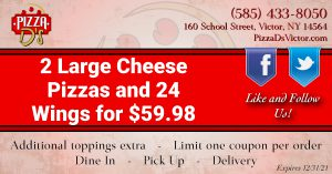 2 Large Cheese Pizzas & 24 Wings (Victor)