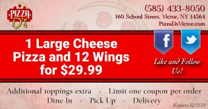 1 Large Cheese Pizza & 12 Wings (Victor)